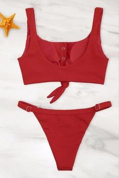 Women Bandage Ruffle Lace Up Bikini 2020 Solid Plaid Push-up Bikini Set Padded Bra Swimsuit Swimwear Bathing Suit Biquini Bather 8