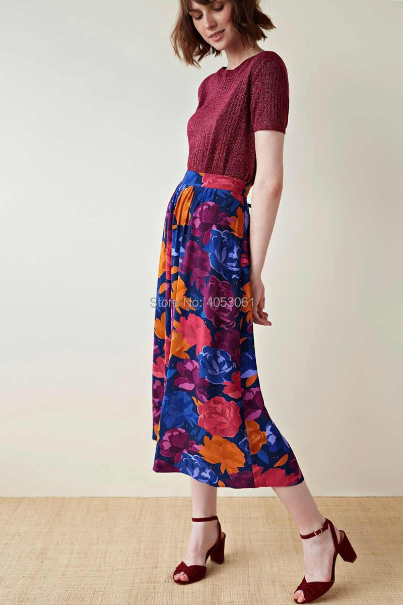 100% wiskoza bez elastycznego nadruku piwonia spódnica trzy czwarte strony z łańcuszkiem-2019 wiosenna letnia spódnica damska