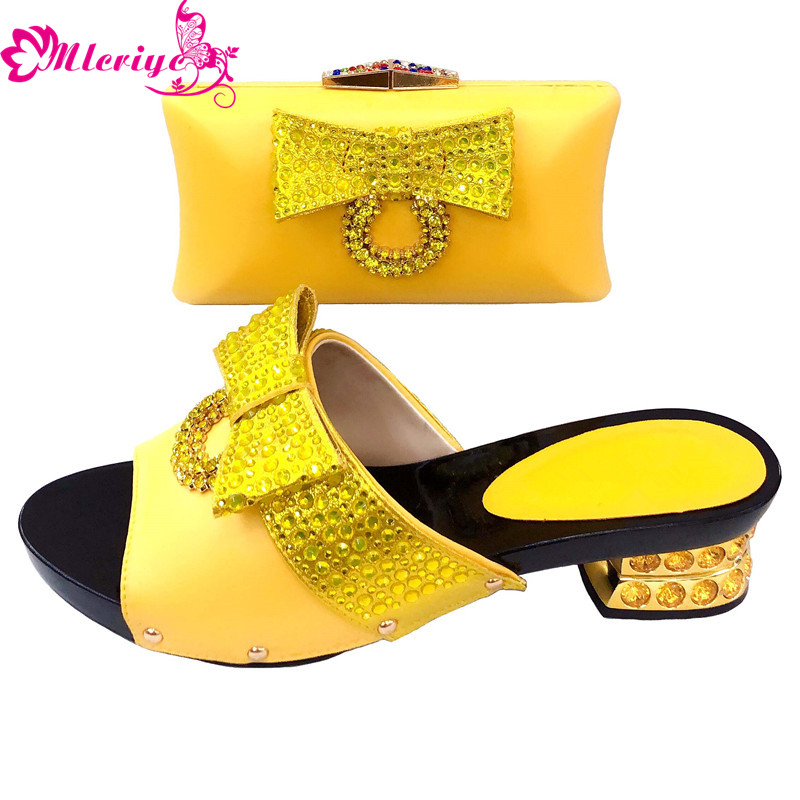 Yellow Med Heels Ladies Italian Shoes And Bag Set Decorated With Rhinestone Italian Shoes With Matching Bags Party Shoes And Bag
