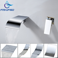 Wall Mounted Waterfall Basin Faucets Widespread Sink Faucet Chrome Polished Bathroom Mixer Tap Single Handle Hot And Cold Water