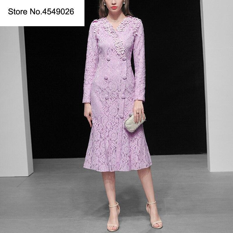 Femmes dentelle fête robe 2019 printemps piste solide violet dentelle fleur évider manches longues Double boutonnage mince robe H7010