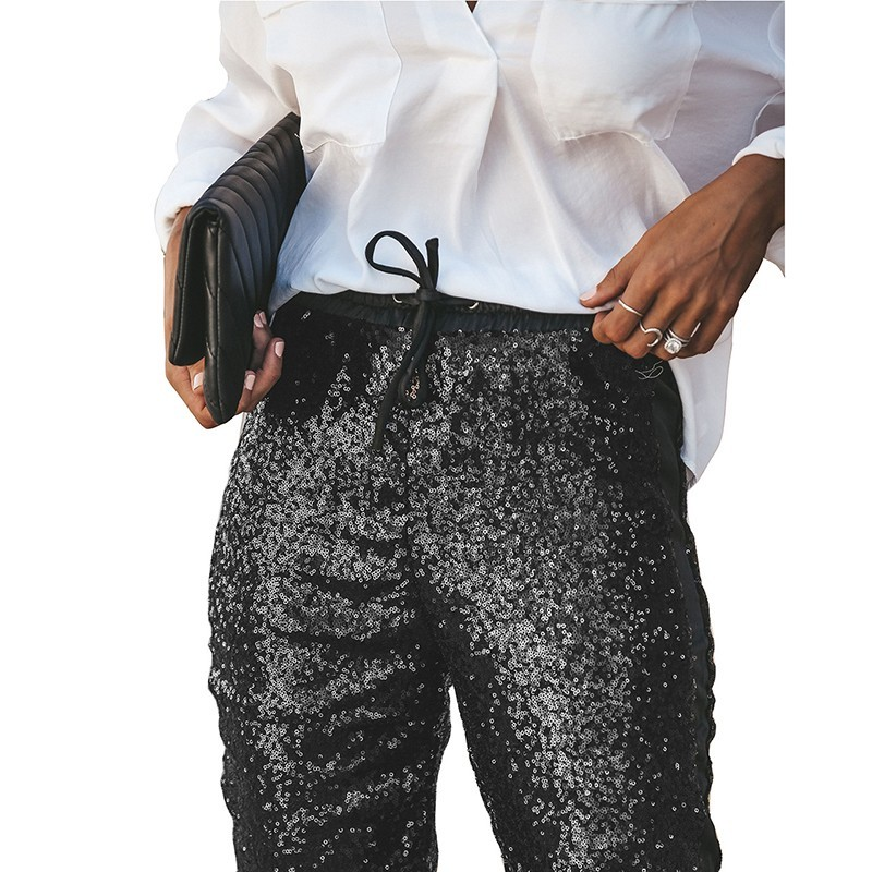 ce187647 PU patchwork Sequin Pants Women Casual High Waist Trousers Pencil  Sweatpants Club Wear Party Sparkly Pants -in Pants & Capris from Women's  Clothing on ...