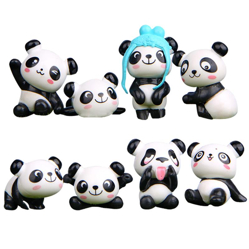 Image 2 - 8PCS Playful Version Cartoon Panda Cake Decoration Creative Wild Garden Micro Landscape Cute Doll Party Cake Decoration-in Cake Decorating Supplies from Home & Garden