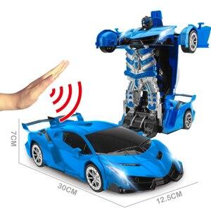 Image 2 - 2.4 جيجا هرتز التعريفي التحول سيارة روبوت 1:14 تشوه سيارة لعبة بريموت كنترول مصباح ليد روبوت كهربائي نماذج فيتينت اللعب الهدايا