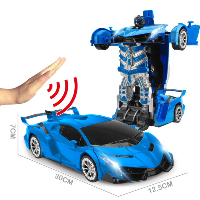 2 4Ghz Induction Transformation Robot Car 1 14 Deformation RC Car Toy led Light Electric Robot