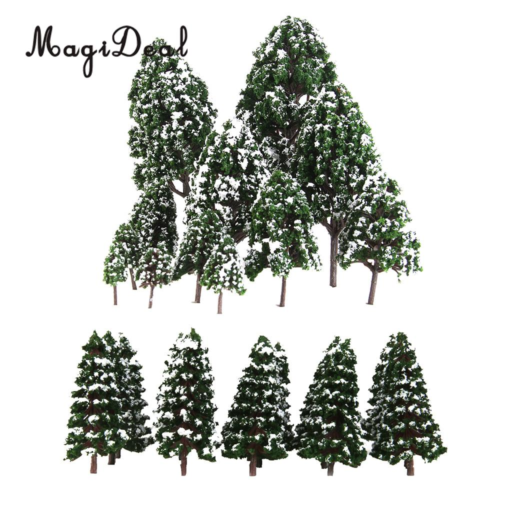 MagiDeal 32Pcs Dark Green Painted Snow Tree Model HO OO N 1:50-1:500 For Train Railway Diorama Wargame Scene DIY