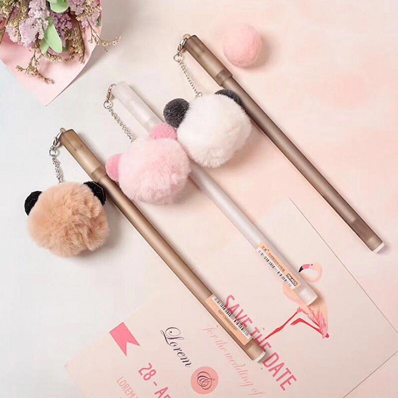 1Pc Kawaii Pendant Pens Cute Bear Gel Pens Creative Plush Neutral Pens For Kids Girls Writing School Office Supplies Stationery