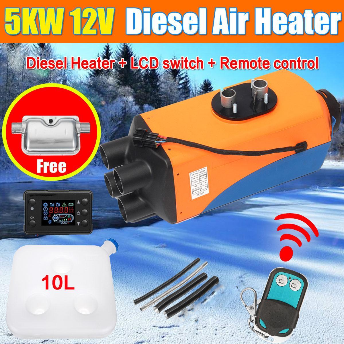 12 v/24 v 5kw carro aquecedor de ar diesels aquecedor de estacionamento com controle remoto lcd silenciador para motorhome caminhões de reboque barcos