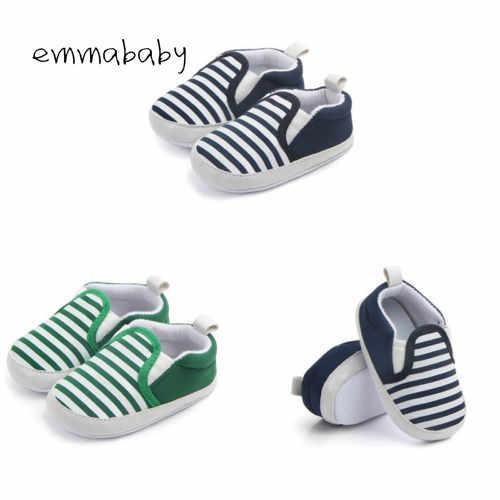 2019 חדש לגמרי Pram יילוד פעוט תינוק בנות בני ילדים תינוקות ראשון הליכונים פסים קלאסי נעליים מזדמנים רך נעליים