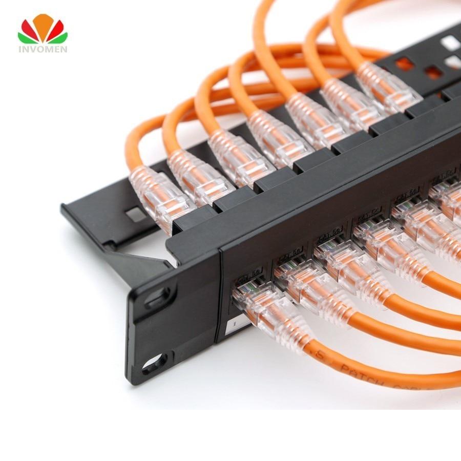 19inch 1U Cabinet Rack Pass-through 24 Port CAT6 Patch Panel RJ45 Network Cable Adapter Keystone Jack Modular Distribution Frame