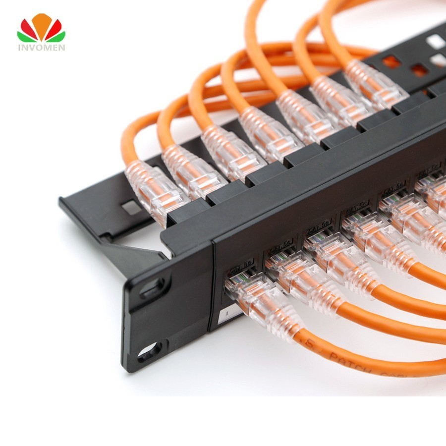 19inch 1U Cabinet Rack Pass-through 24 Port CAT6 Patch Panel RJ45 Network Cable Adapter Keystone Jack Modular Distribution Frame