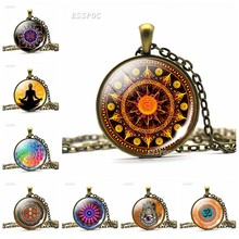 Vintage Glass Dome Necklace Buddhism Chakra Glass Cabochon Pendant Jewelry Om India Yoga Mandala Necklaces For Women Men Gift(China)