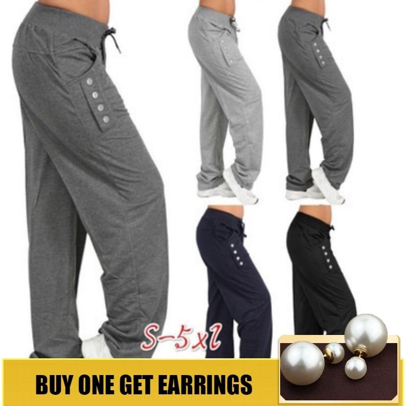 HOUZHOU S-5XL Drawstring Solid Harem Pants Women Loose Straight Ankle Length Trousers Mid Elastic Waist Plus Size Button Jogger