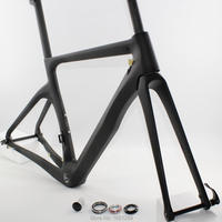 Newest 700C Racing Road bike matt 3K full carbon fibre bicycle disc brake frame thru axle fork+seatpost+clamp+headsets Free ship