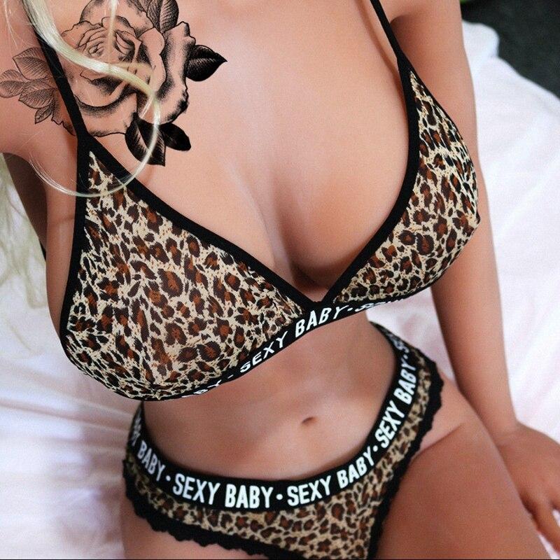 Women Lace Leopard Patchwork Letter Sexy Lingerie Nightwear Underwear G-string Babydoll   Bra     Set