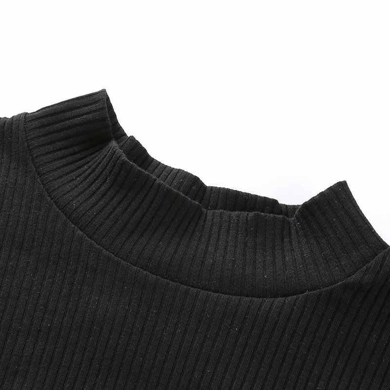 Женские футболки, повседневные, сексуальные, элегантные, готические, черные, тонкие, с воротником-стойкой, сетчатые, однотонные, уличные, женские, модные топы в готическом стиле