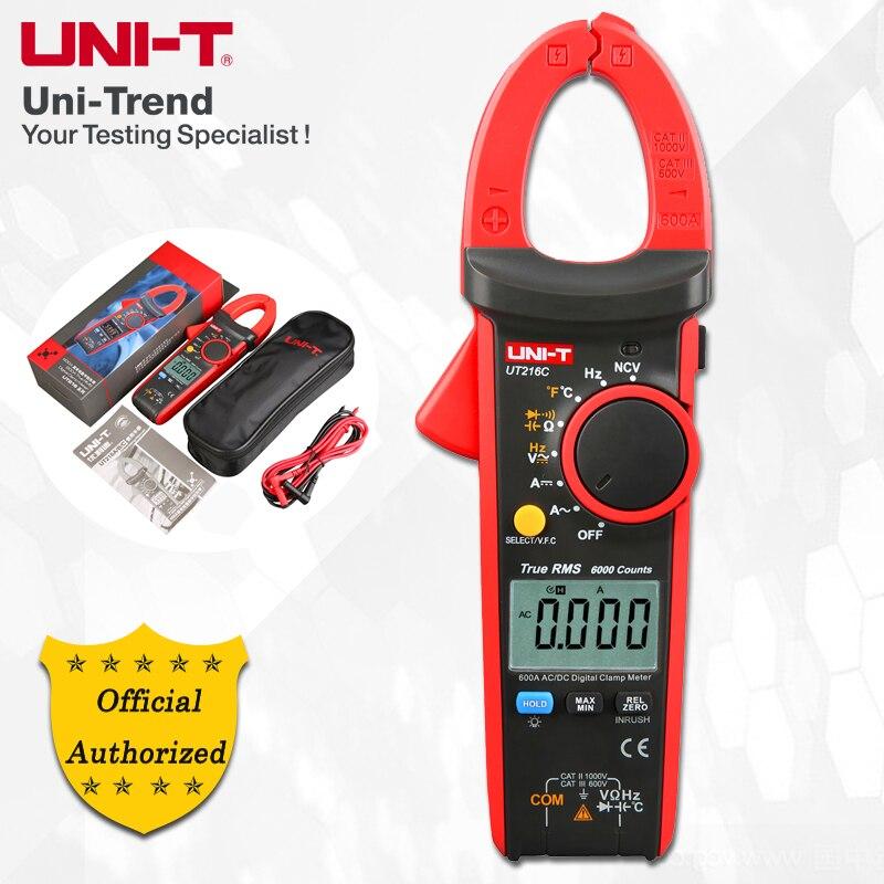 UNI-T UT216A/UT216B/UT216C/UT216D 600A Digital True RMS Braçadeira Metros; Amperímetro Digital, resistor/Capacitor/Freqüência/NCV Teste
