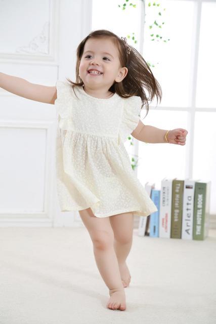 2019 חדש אופנה חמוד תינוקת ילדים מסיבת יום הולדת שמלת בגדי פעוט שמלות בנות קיץ ללבוש מודפס פרחים 100% כותנה