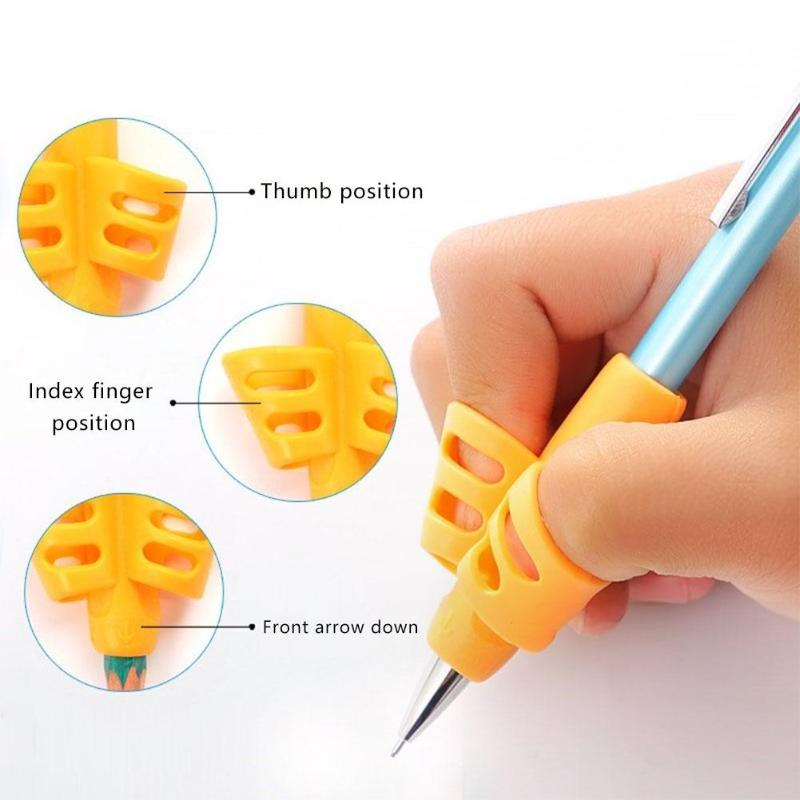3Pcs Tools Two Finger Pencil Holder Ergonomic Non-toxic Writing Aid Grip Silicone Grip Soft Training Posture Correction Children