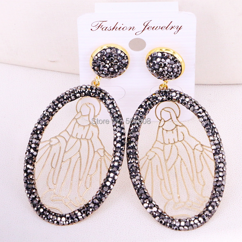 5Pairs ZYZ318-7398 Gold Color Bohemian Filigree Earring Mary of Virgin Hollow Earrings for women