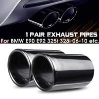 1 ペアチタンブラック車の排気システムマフラー排気テールパイプ先端 bmw E90 E92 325i の 328i 2006 2010 自動車の付属品