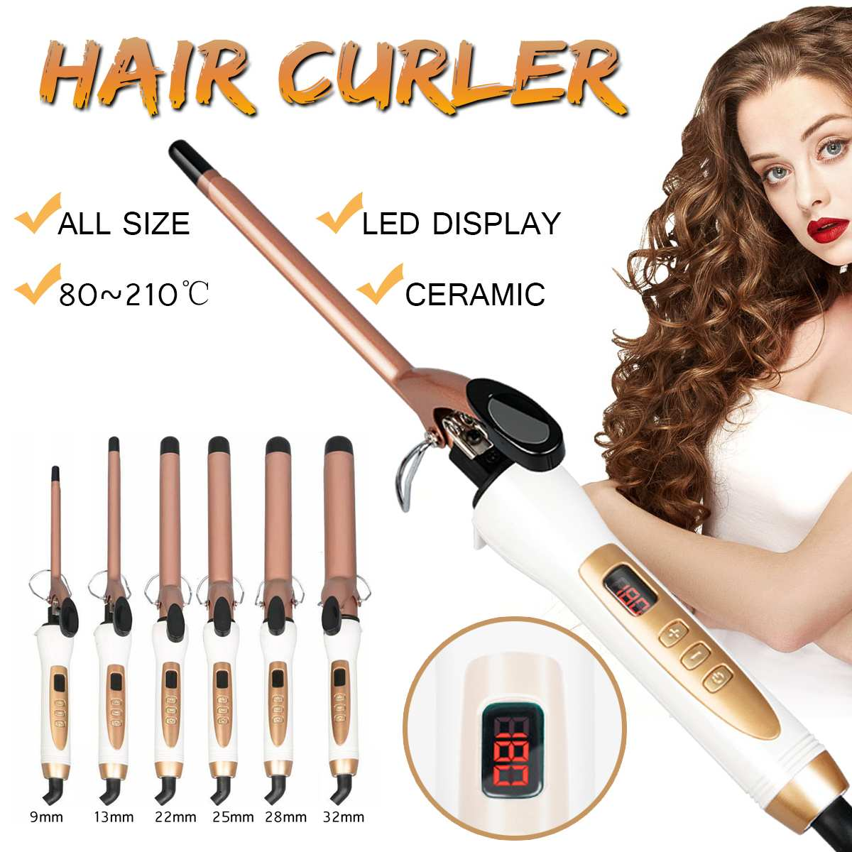 Ceramic Hair Curler Quick Heat Curling Tongs LED Dry and Wet Curling Hair Waver Styling Tool Multi size 9/13/22/25/28/32mmCeramic Hair Curler Quick Heat Curling Tongs LED Dry and Wet Curling Hair Waver Styling Tool Multi size 9/13/22/25/28/32mm