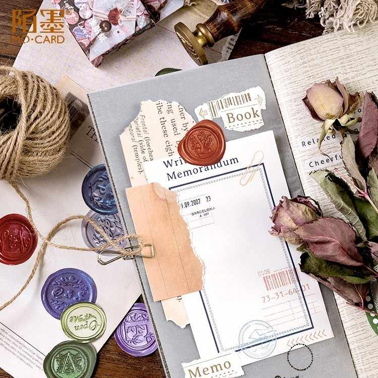 45PCS/box New Retro Paint Paper Lable Sealing Stickers Crafts Scrapbooking Decorative Lifelog DIY Stationery Sticker