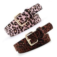 цены на Women Belts Cummerbund Horsehair Belt With Leopard Pattern Rose Gold Metal Buckle Waist Belts Leopard Black Red Sexy Belt  в интернет-магазинах