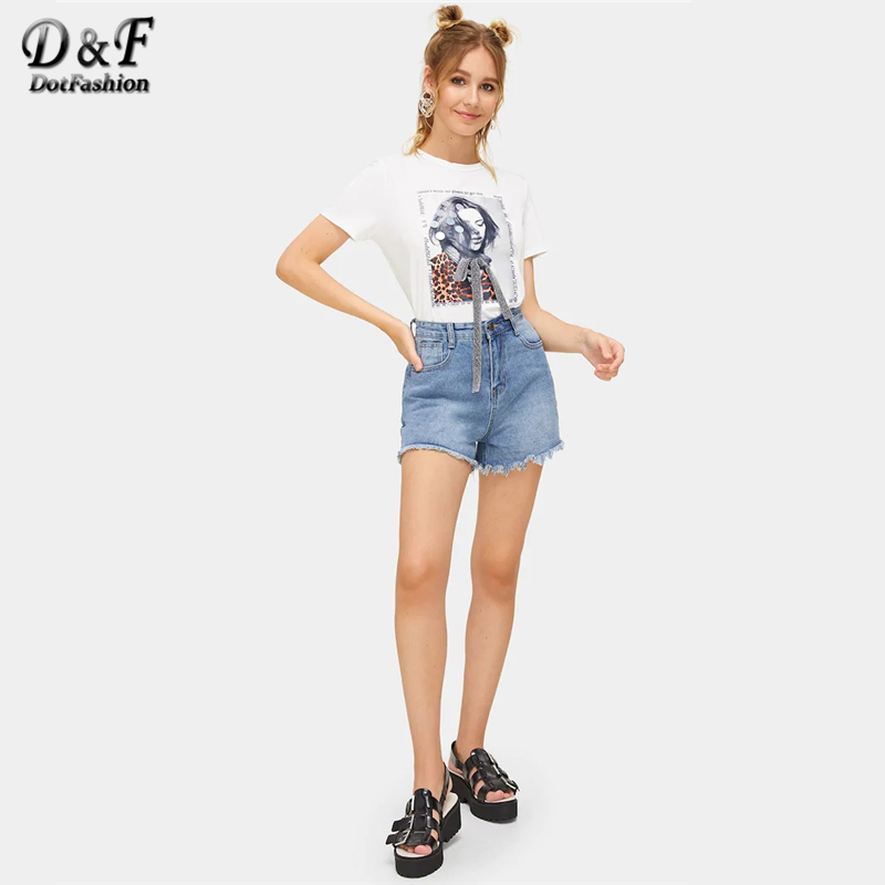 White Bow Front Sequin Detail Figure Print Streetwear Tee  5