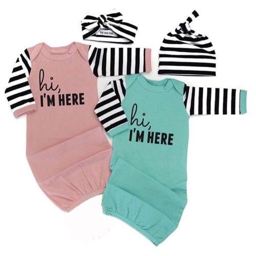 Blanket Sleepers Sleepwear & Robes Emmababy Newborn Infant Baby Girl Sleepwear Robes Jumpsuit Sleeping Bag Sleepwear Cotton I Am Here Letter Stripe Sleepwear