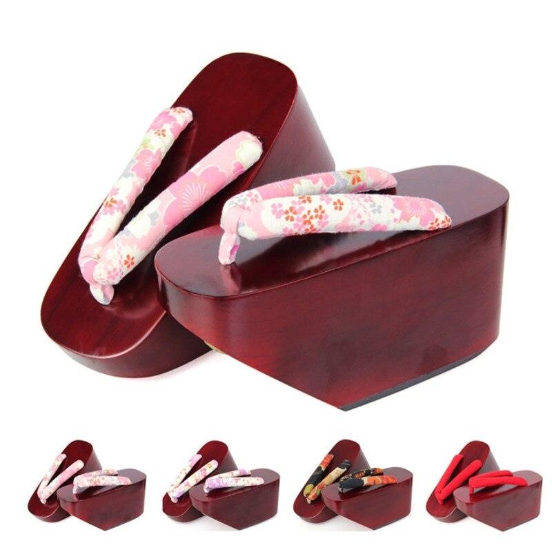 Sandales en bois d'été pour femmes tongs peintes mates japon Geta Kimono pantoufles Super haut talon Geisha Cosplay chaussures H9023