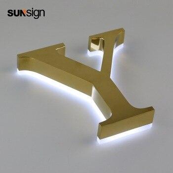 Backlit Pequeno Ouro Metal Escovado Aço Inoxidável 304 Letras Do Alfabeto Levou Para A Decoração Da Parede