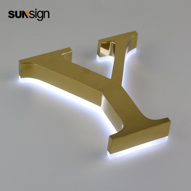 Backlit Small Golden Brushed Metal 304 Stainless Steel Alphabet Led Letters For Wall Decoration