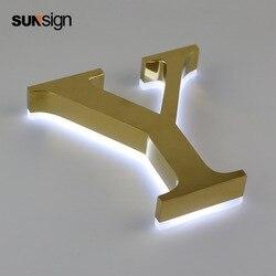 Letras led de alfabeto de acero inoxidable 304 de metal cepillado dorado pequeño retroiluminado para decoración de pared