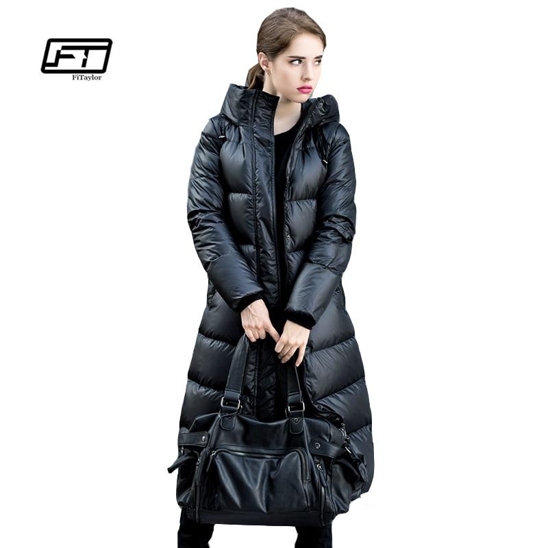 Fitaylor Winter Jackets Women 90 White Duck Down Parkas Down Jacket Women Hooded Coats Long Warm