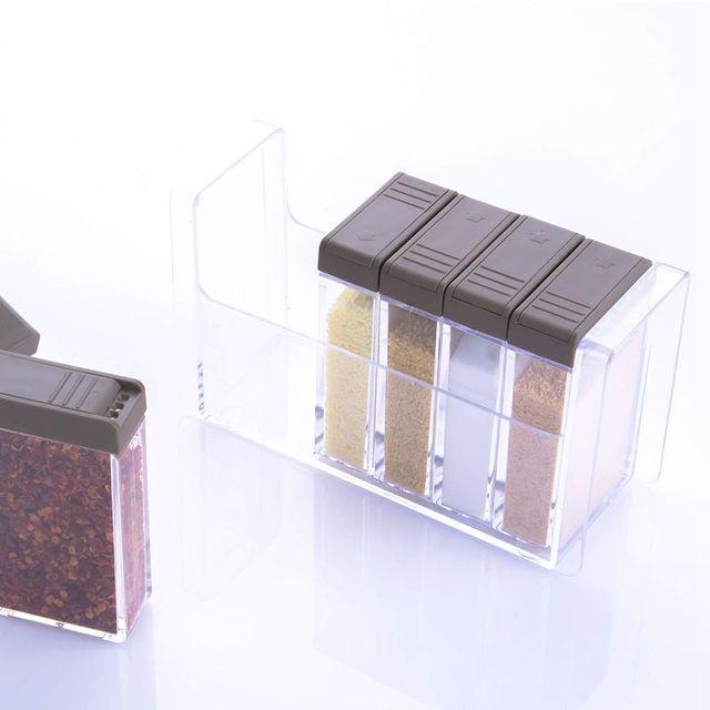 Set of 6 Spice Shaker Jars Seasoning Box,Condiment Jar Storage Container with Tray for Salt Sugar Cruet Pepper,Brown