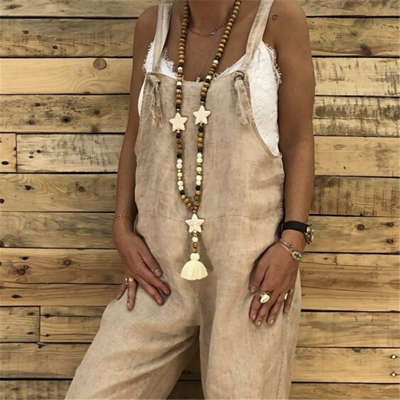 Women Casual Cotton Linen Vintage Sling Jumpsuit Overalls Female Retro Harem Pants Ladies Loose Pocket Strap Jumpsuit Trousers