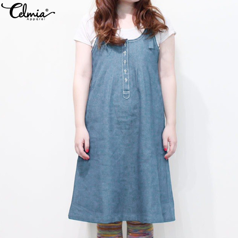 Celmia Sleeveless Summer Denim Dress Women Buttons Suspender Dresses 2019 Sexy Strappy Casual Loose Backless Overalls Vestidos