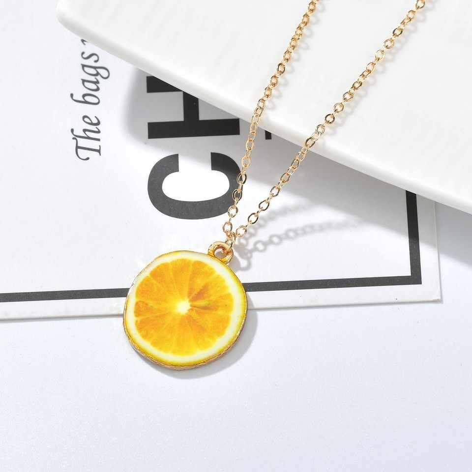 New Sweet Summer Pendant Necklace For Women Fruit Vegetables Kiwi Orange Lemon Tomato Cute Handmade Pendant Choker Jewelry