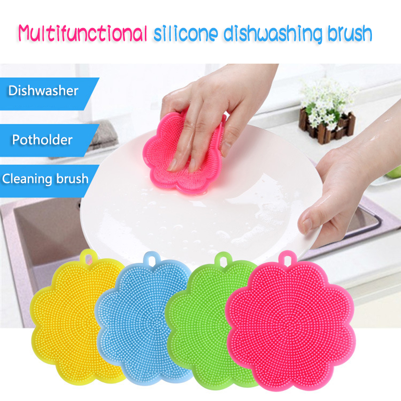 Blue Green Pink NUOLUX 3PCS Silicone Scrubber Dish Wash Cloth Dirt Cleaning for Kitchen Bathroom