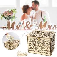 Wooden Wedding Supplies DIY Business Card Box With Lock Wedding Gift Card Box Wooden Money Box Decoration Supplies