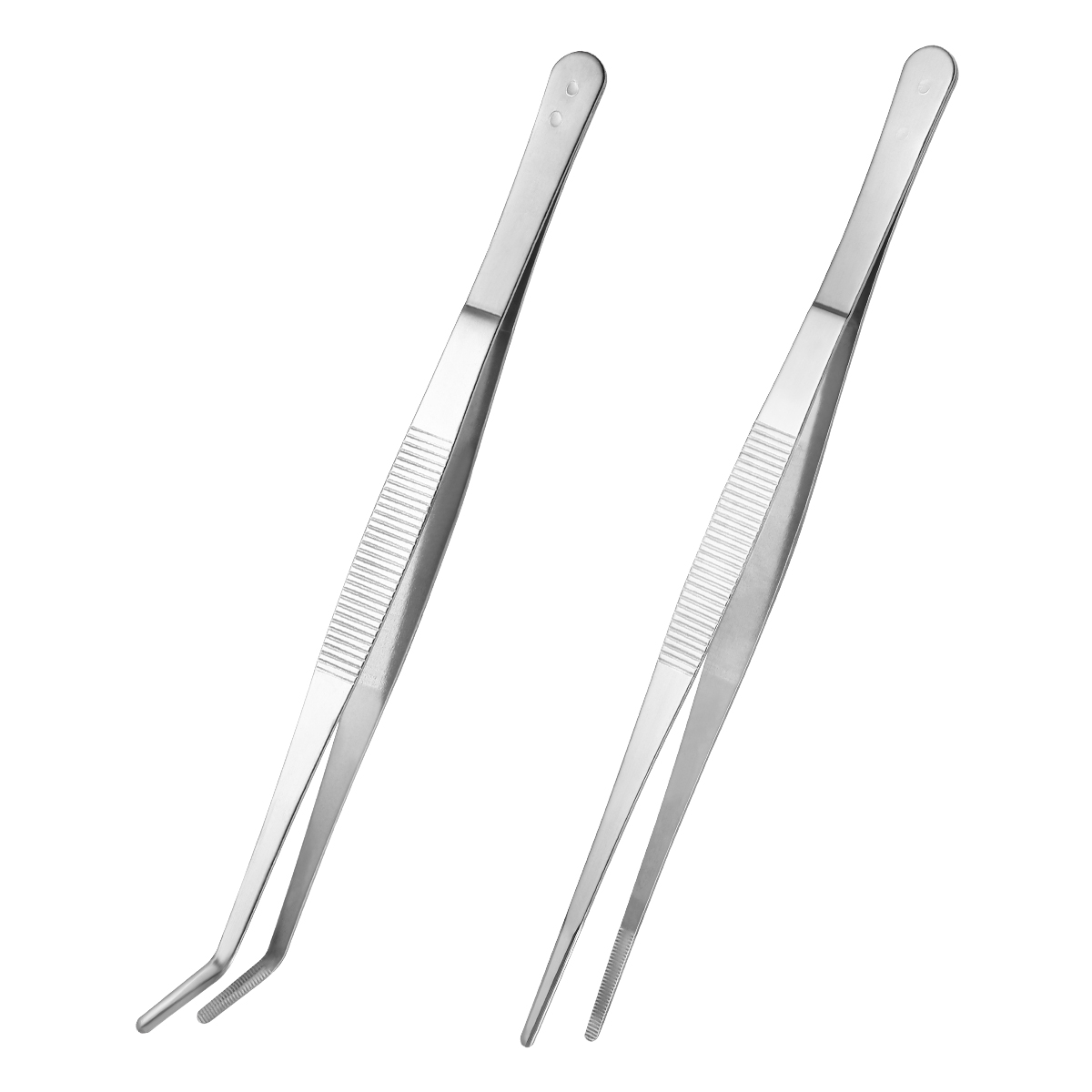 2PCS Stainless Steel Safe Smooth Straight Tweezers Feeding Tongs Curved Nippers Medical Tools For Lizards Reptile Spider