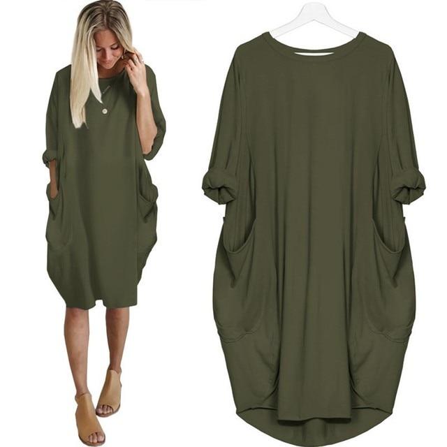 Vrouwen Casual Losse Jurk Met Pocket Dames Mode O Hals Lange Tops Vrouwelijke T-shirt Jurk Streetwear Plus Size 5XL vestidos