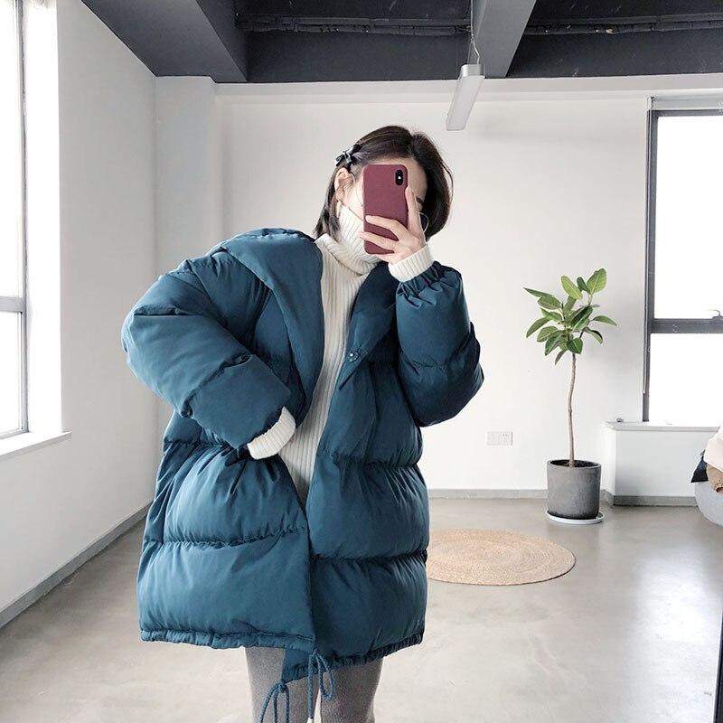 100% Waar Mooirue 2018 Herfst Winter Harajuku Koreaanse Casual Jas Jas Vrouwelijke Koreaanse Lui Katoen Gevoerde Parka Afdrukken O Hals Slim Jas