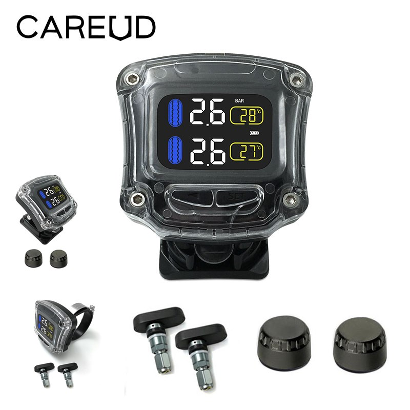 CAREUD M3 B WI H Motorcycle Wireless TPMS LCD Display Moto Tire Pressure Monitoring System With