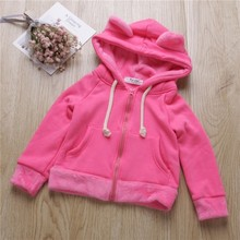 spring girl pink jackets hooded girls outerwear coats fleece worm kids jacket toddler baby outfit fashion children clothes