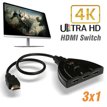 3in1out 3 Port 4Kx2K HDMI Splitter High Performance Multi Switch HDMI Switcher HUB Black Box Cable Fit For HDTV PC 1080P все цены