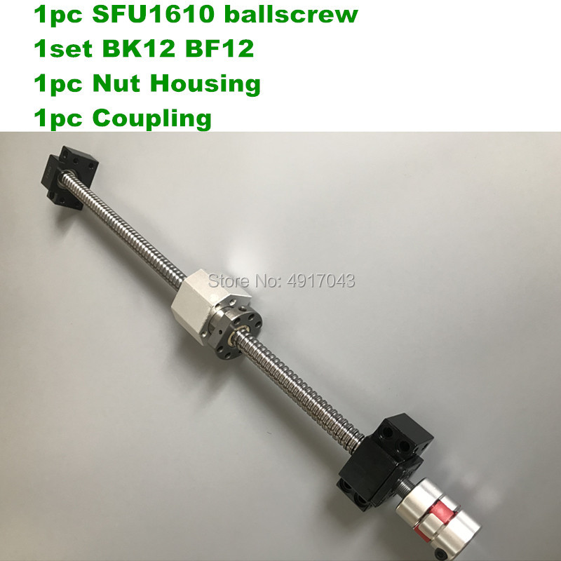 SFU1610 Ballscrew 1610 1200 1500 mm ball screw+ Nut Housing+ BK12 BF12 +Coupler for cnc partsSFU1610 Ballscrew 1610 1200 1500 mm ball screw+ Nut Housing+ BK12 BF12 +Coupler for cnc parts