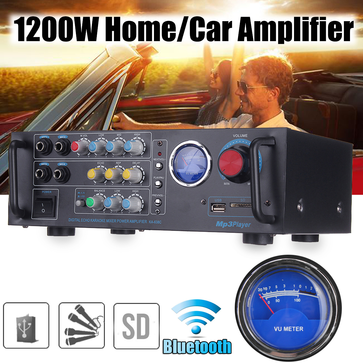 1200W Sound Amplifier for Speakers Subwoofer Car Audio Car Amplifier Equalizer Stereo Amplifier for Cars Subwoofer In The Car yiyelang yh 128 1200w car amplifier audio installation wires cables kit red blue