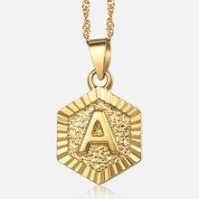 3834ed72994d Inglés alfabeto inicial colgante del encanto collares para las mujeres  joyería regalos de oro Z Letras collar cadena LGPM18B